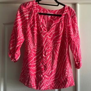 Lilly Pulitzer 3/4 Sleeve Pink Print Silk Top